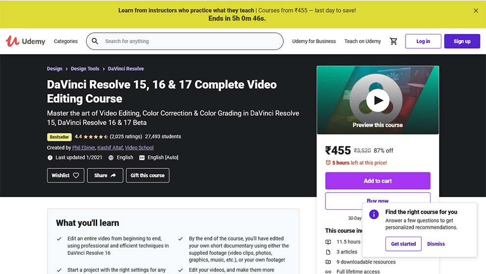 DaVinci Resolve 15, 16 & 17 Complete Video Editing Course