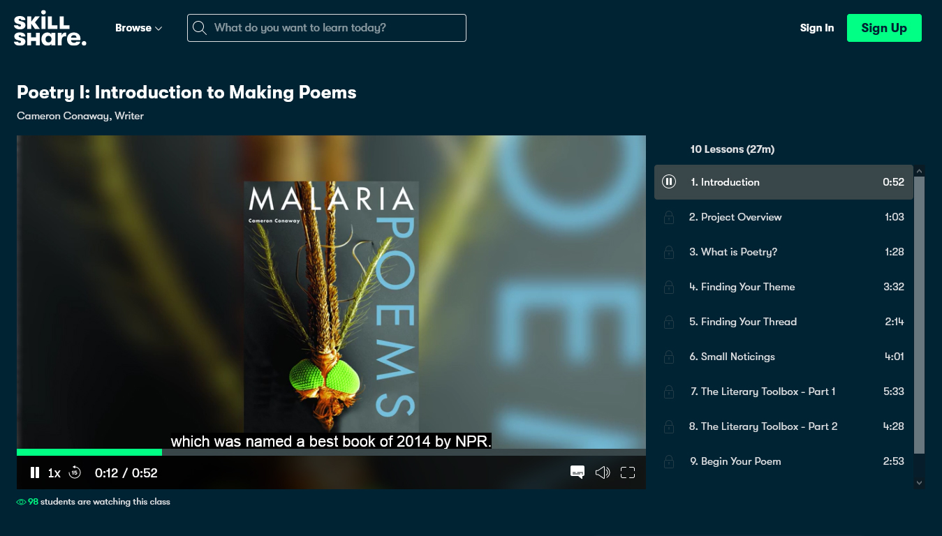 Poetry I: Introduction to Making Poems