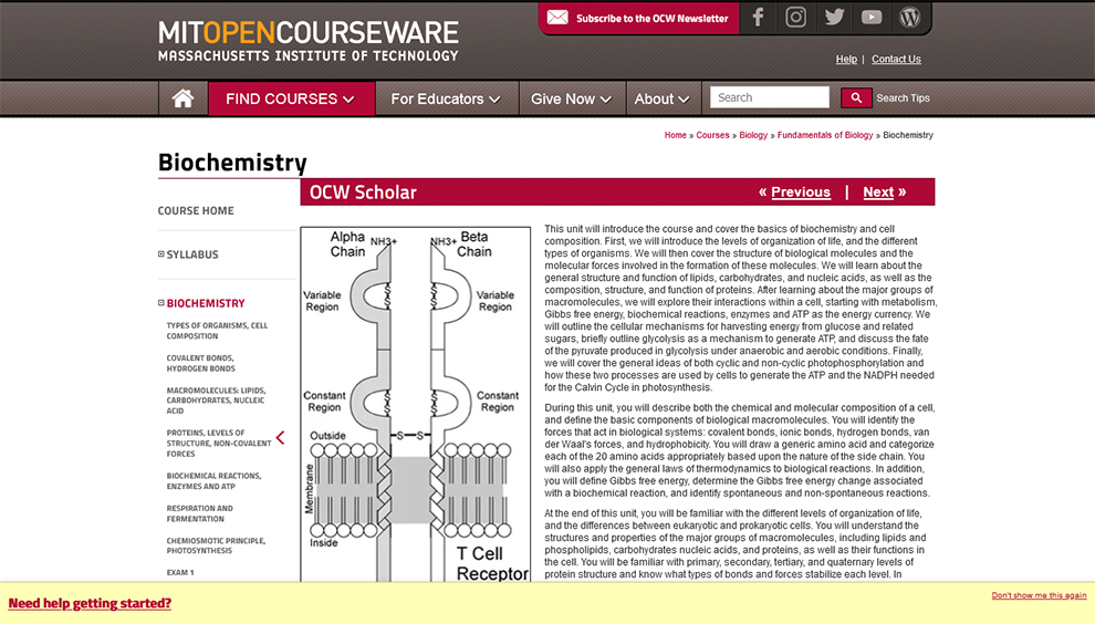 Biochemistry - MIT Open Courseware