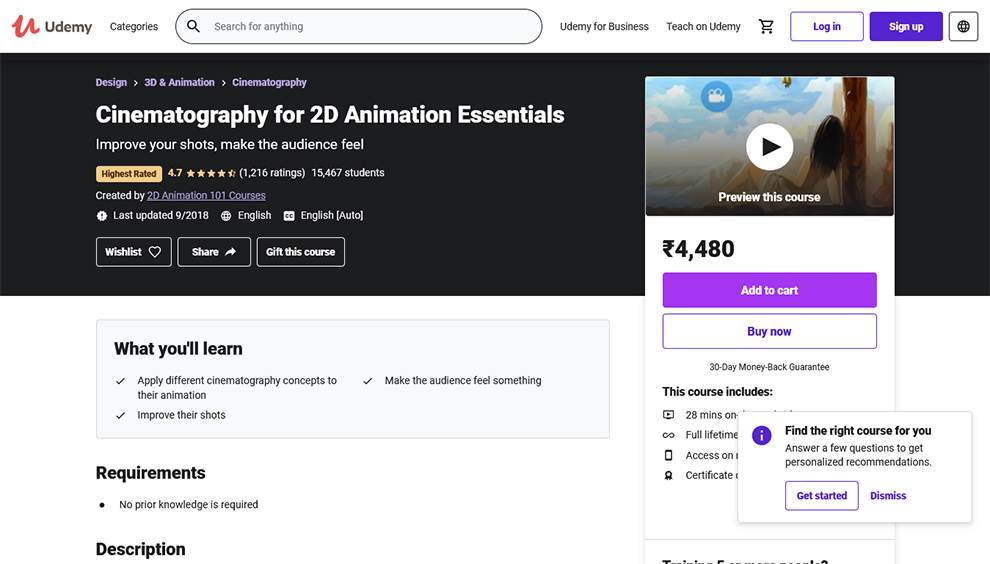 Cinematography for 2D Animation Essentials