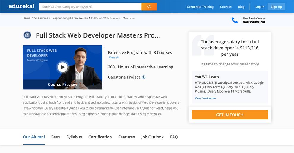Full Stack Web Developer Master's Program