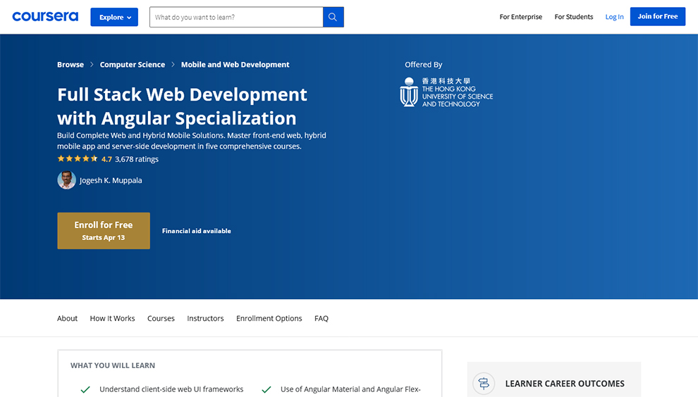 Full Stack Web Development with Angular Specialization By Hong Kong University