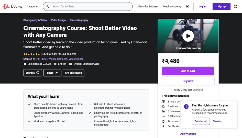 Top Cinematography Courses, Classes and Training Online