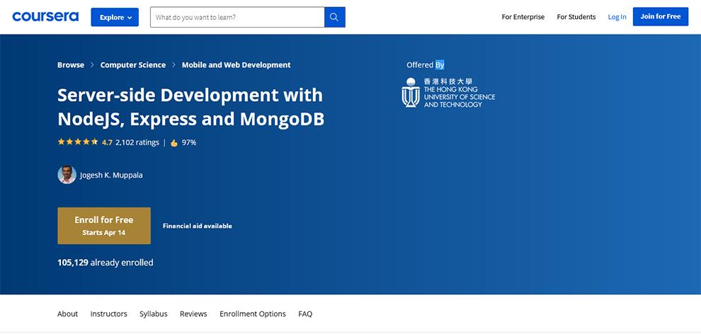 Server-side Development with NodeJS, Express, and MongoDB