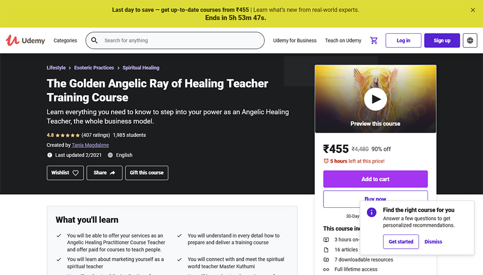 The Golden Angelic Ray of Healing Teacher Training Course