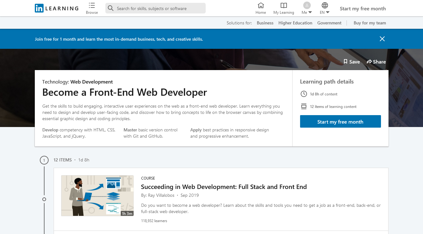 Become a Front End Web Developer Learning Path