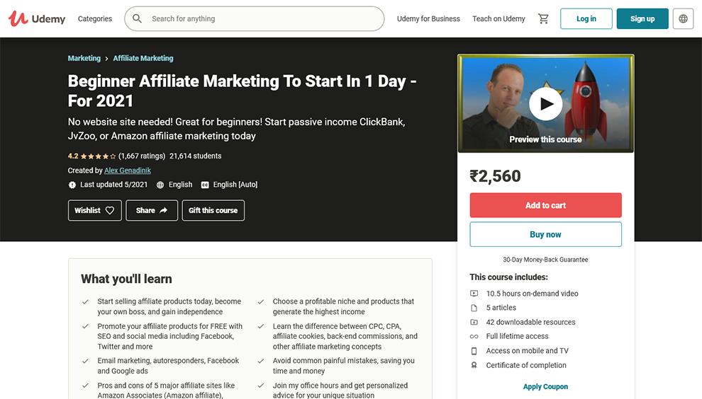 Beginner Affiliate Marketing To Start In 1 Day