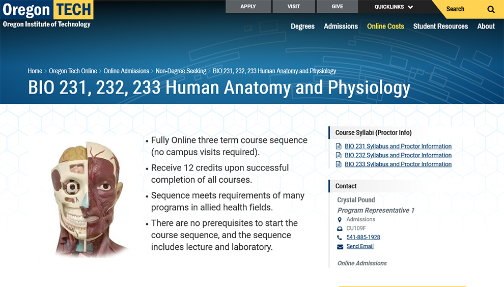 BIO 231, 232, 233 Human Anatomy and Physiology