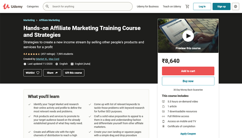 Hands-On Affiliate Marketing Training Course And Strategies
