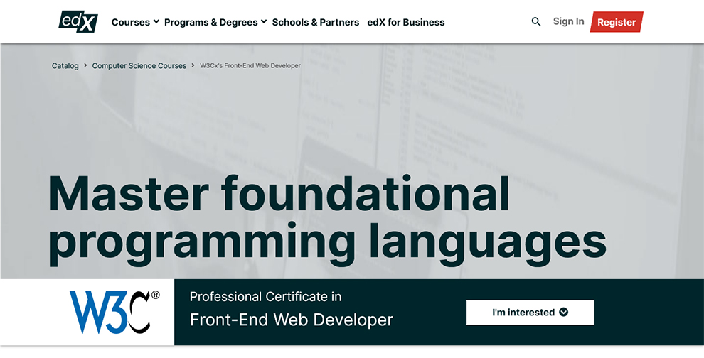 Professional Certificate in Front End Web Developer