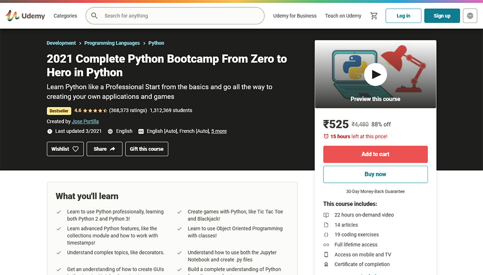 Complete Python Bootcamp From Zero to Hero in Python