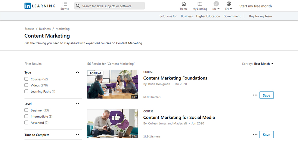 Digital Marketing Courses on LinkedIn