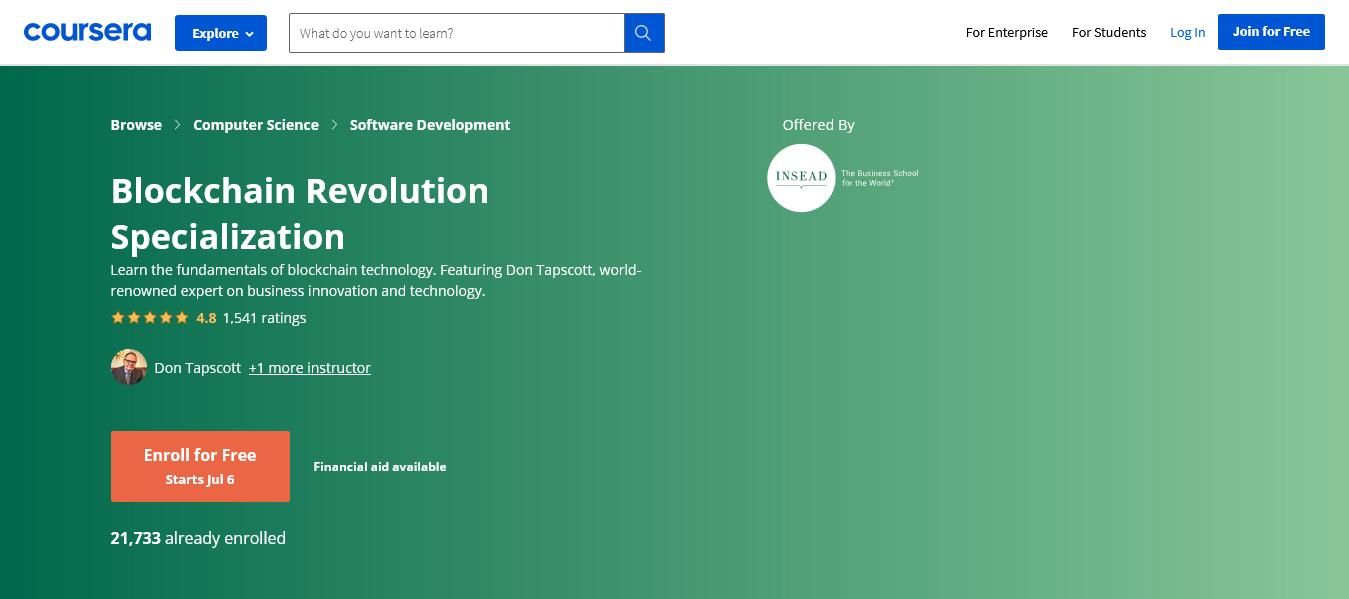 Blockchain Revolution Specialization