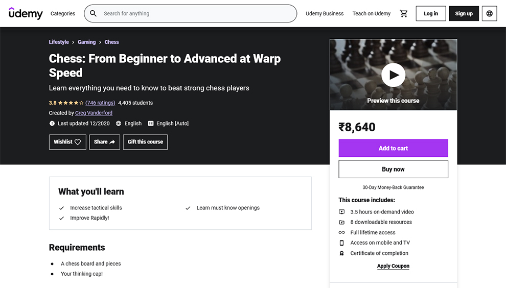 Chess: From Beginner to Advanced at Warp Speed
