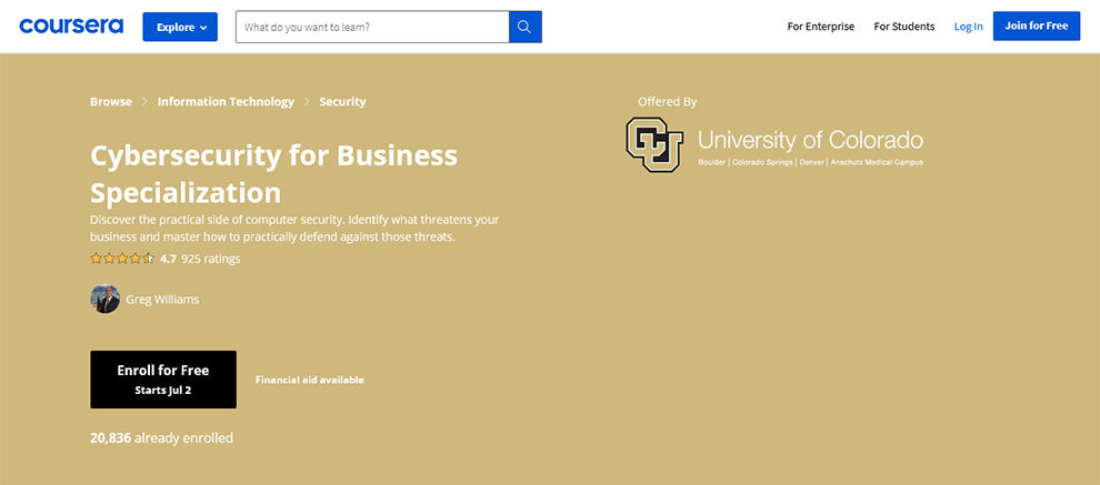 Cybersecurity for Business Specialization
