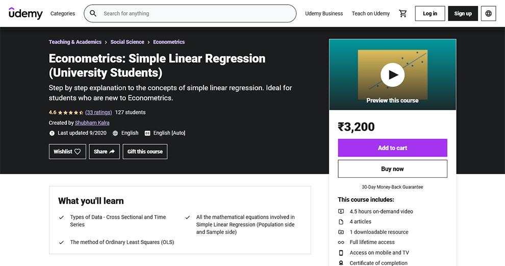 Econometrics: Simple Linear Regression