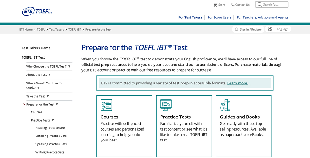 Prepare for the TOEFL iBT® Test