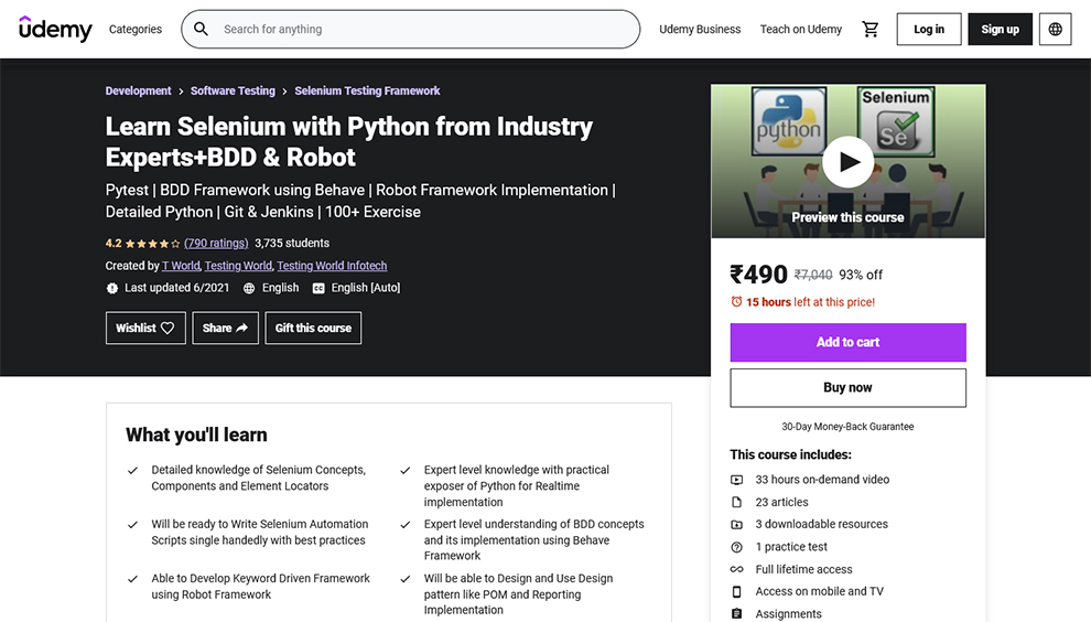 Learn Selenium with Python from Industry Experts+BDD & Robot