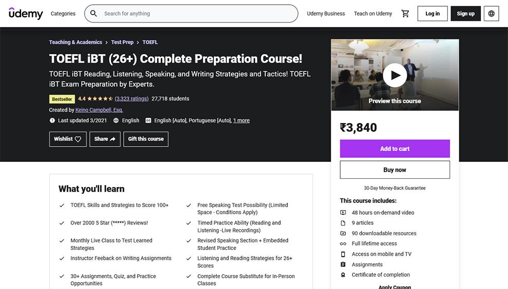 TOEFL iBT (26+) Complete Preparation Course