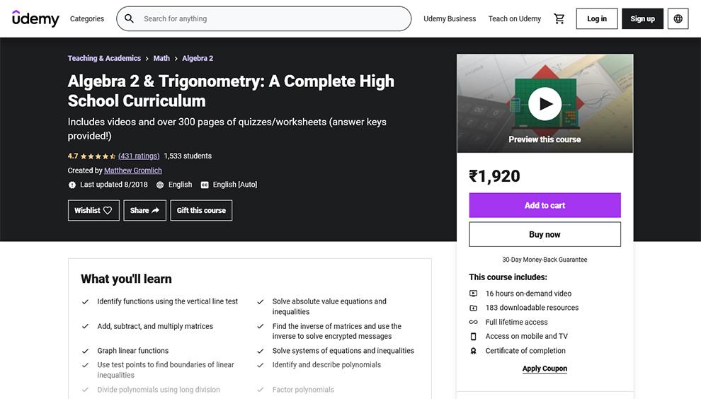 Algebra 2 & Trigonometry