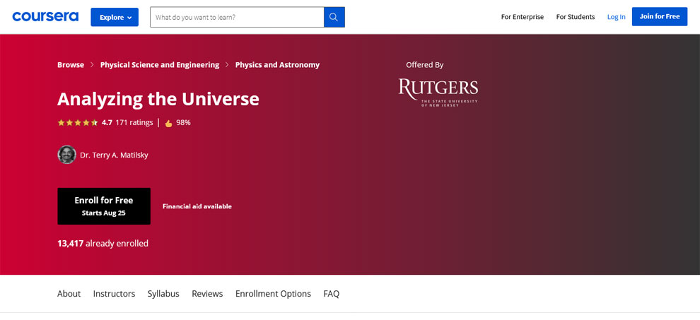 Analyzing the Universe - Offered by University of Rutgers