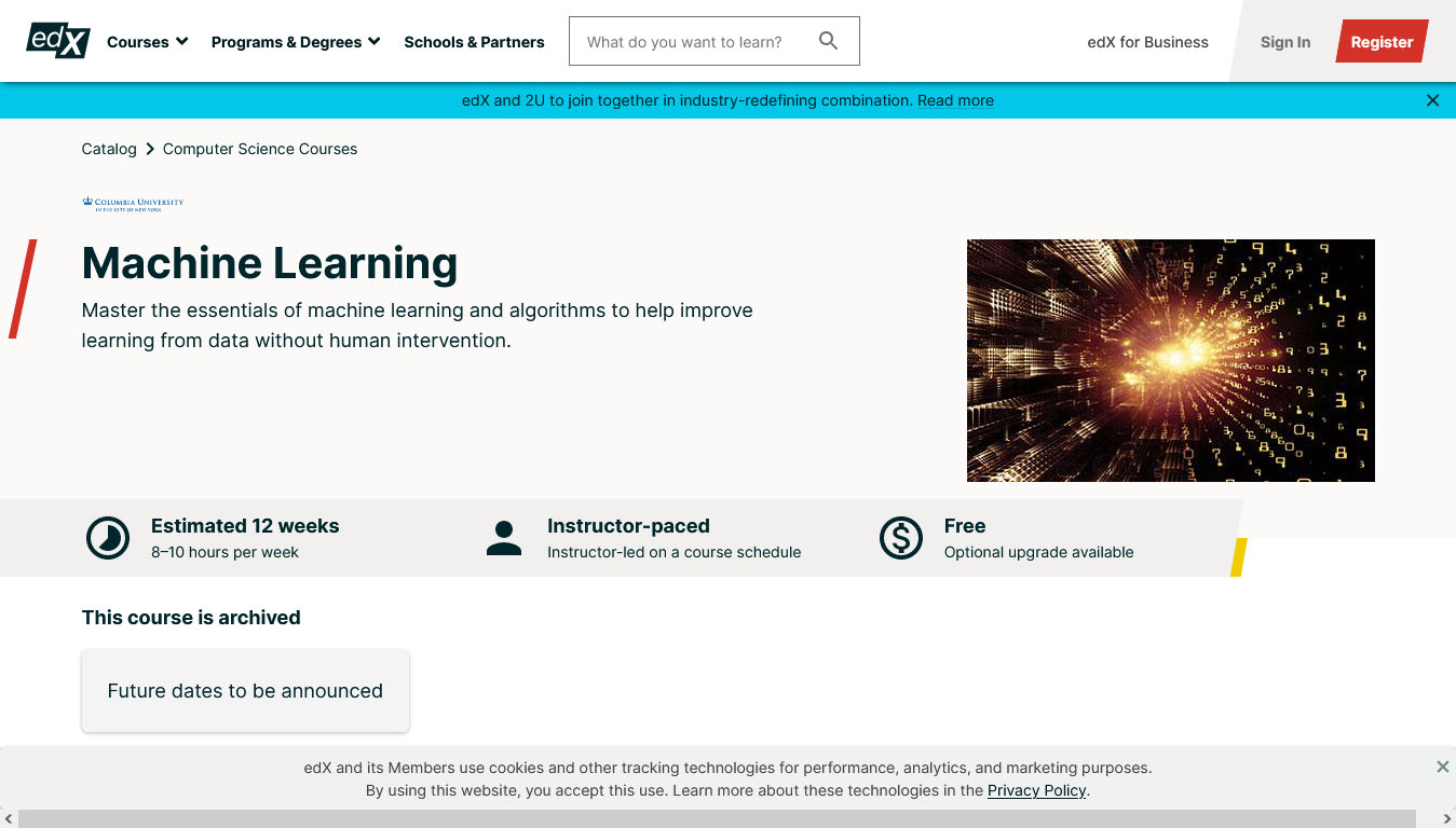 Machine Learning – Offered by Columbia University