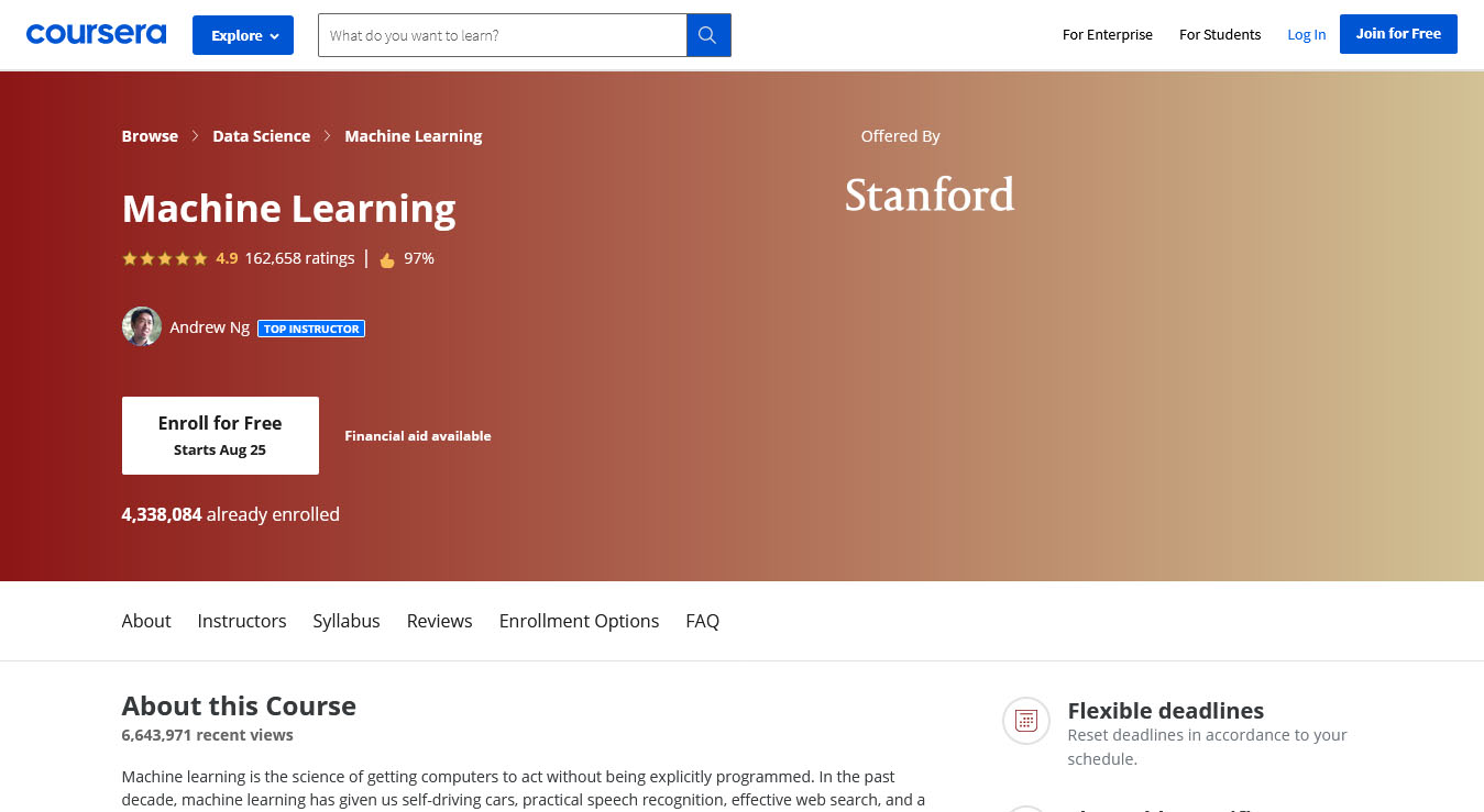 Machine Learning – Offered by Stanford