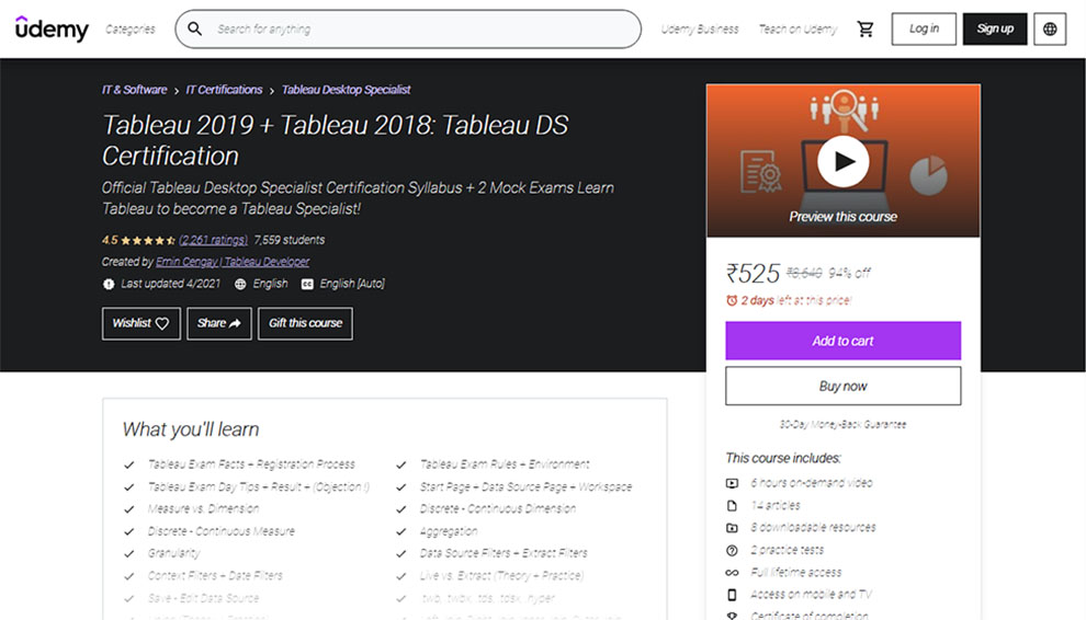 Tableau 2019 + Tableau 2018: Tableau DS Certification