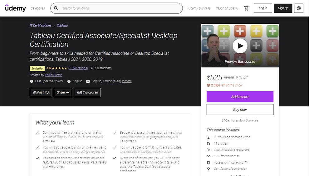Tableau Certified Associate/Specialist Desktop Certification