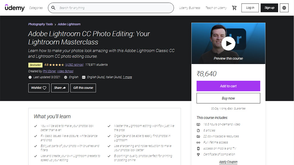 Adobe Lightroom CC Photo Editing: Your Lightroom Masterclass