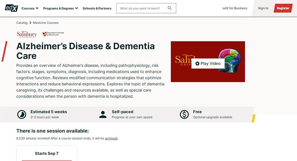 Alzheimer's Disease & Dementia Care – By Salisbury University and University System of Maryland
