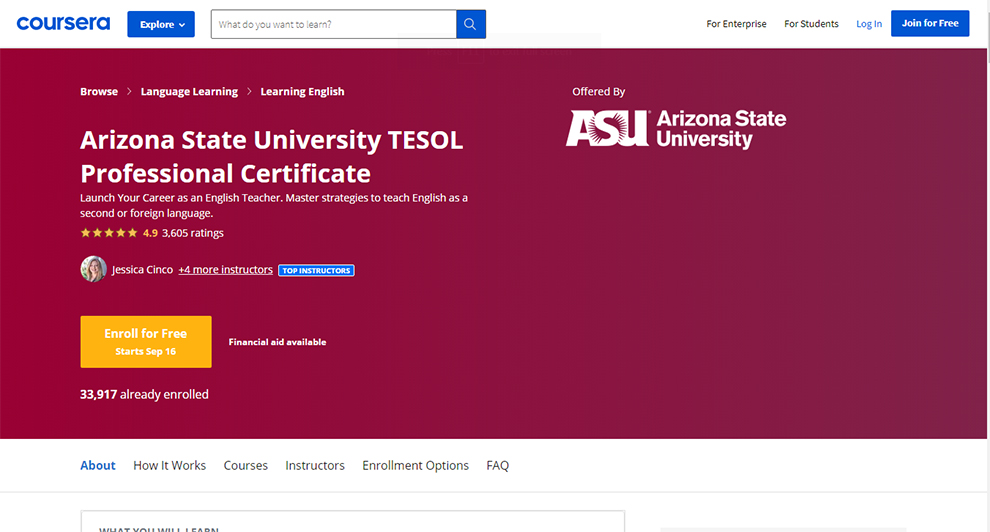 Arizona State University TESOL Professional Certificate