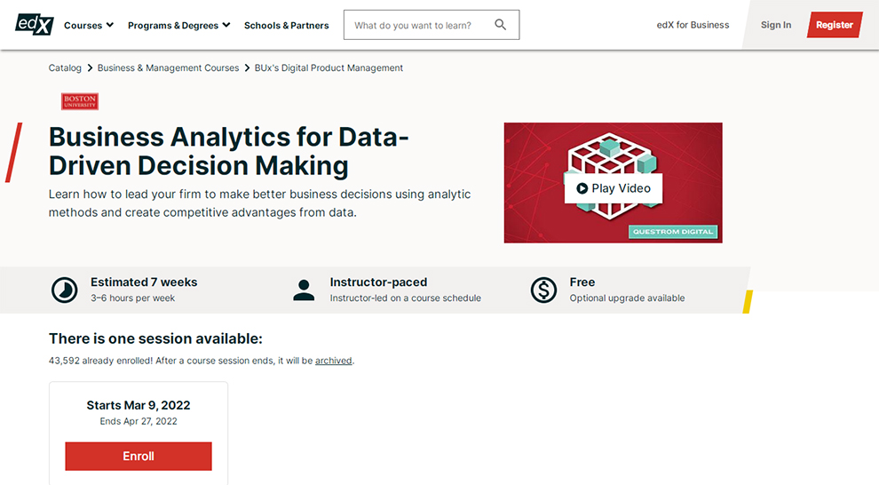 Business Analytics for Data-Driven Decision Making