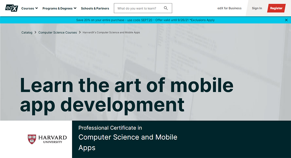 Computer Science and Mobile Apps Certification by Harvard University