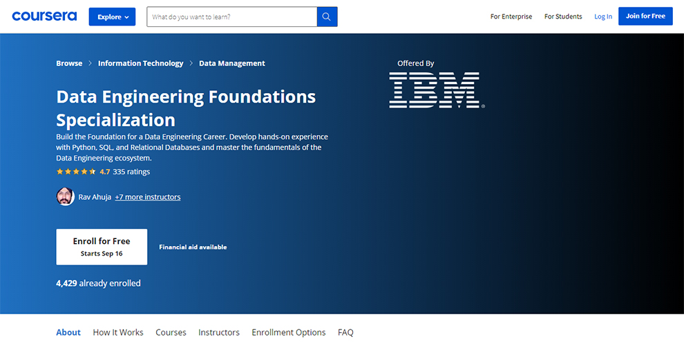 Data Engineering Foundations Specialization