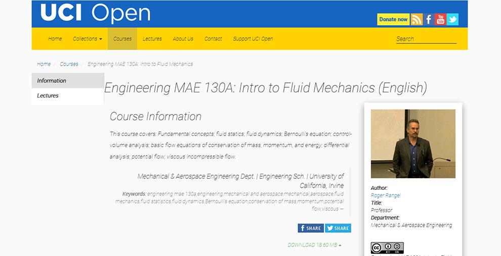 Engineering MAE 130A: Intro to Fluid Mechanics – by University of California, Irvine