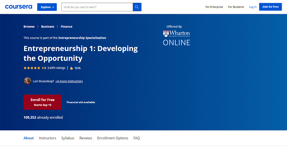 Entrepreneurship Specialization