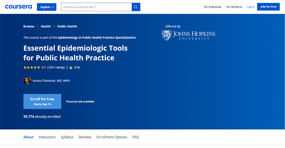 Epidemiology in Public Health Practice Specialization