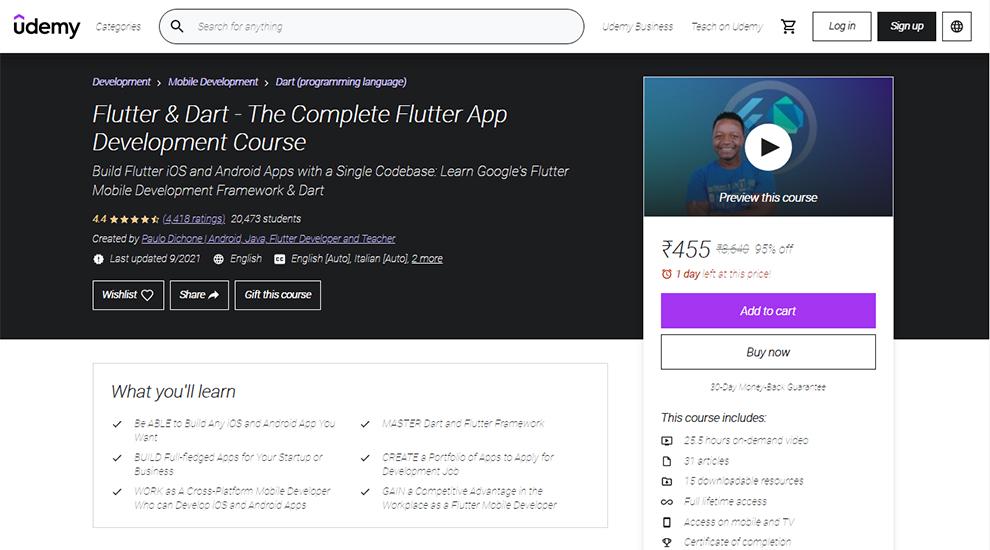 Flutter & Dart - The Complete Flutter App Development Course