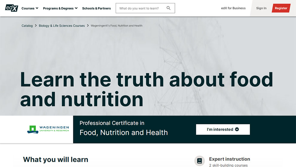 Food, Nutrition and Health – By Wageningen University & Research