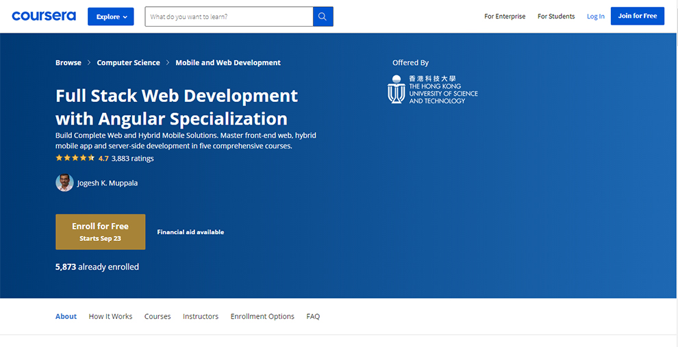 Full Stack Web Development with Angular Specialization by The Hong Kong University of Science and Technology