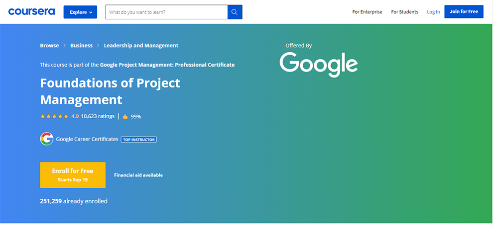 Google Project Management: Professional Certificate