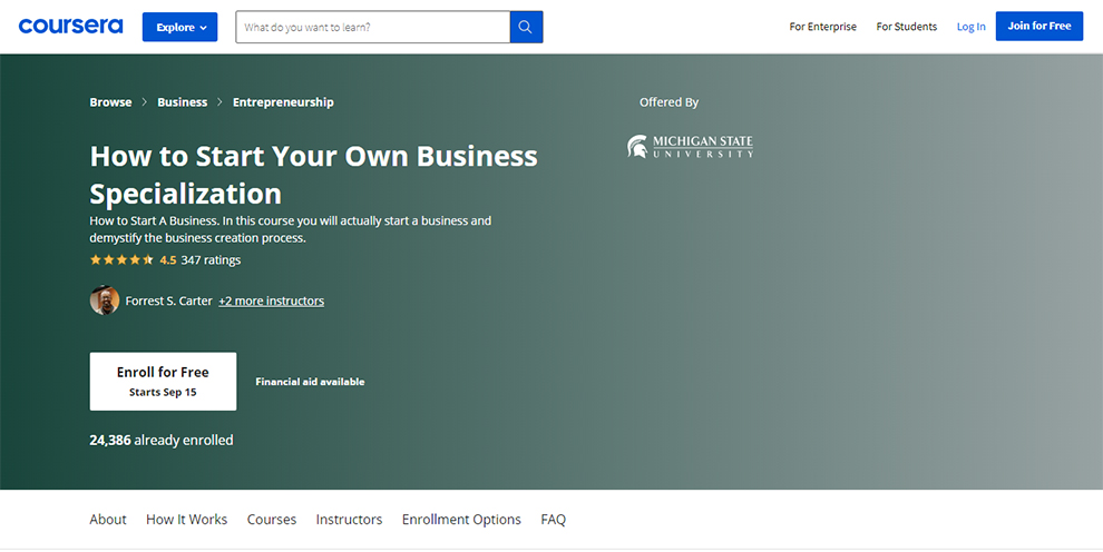 How to Start Your Own Business Specialization