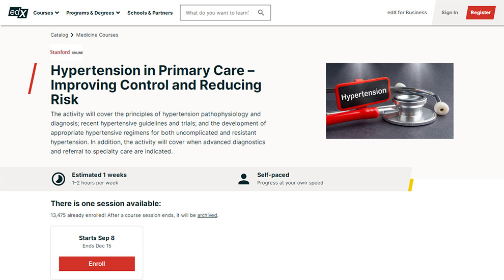 Hypertension in Primary Care – Improving Control and Reducing Risk – by Stanford Online – [edX]