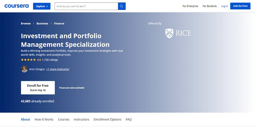 Investment and Portfolio Management Specialization