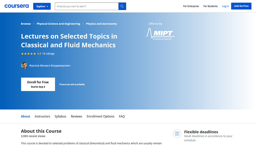 Lectures on Selected Topics in Classical and Fluid Mechanics