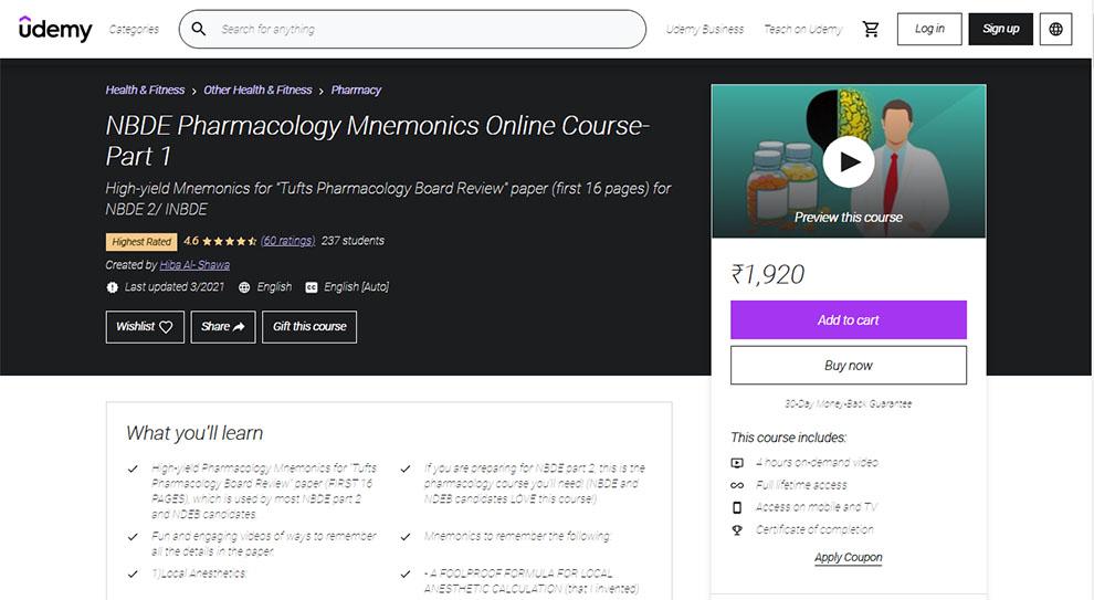 NBDE Pharmacology Mnemonics Online Course