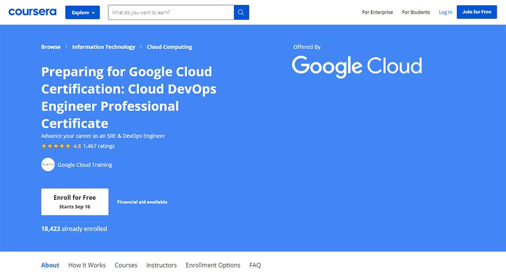 Preparing for Google Cloud Certification: Cloud DevOps Engineer Professional Certificate