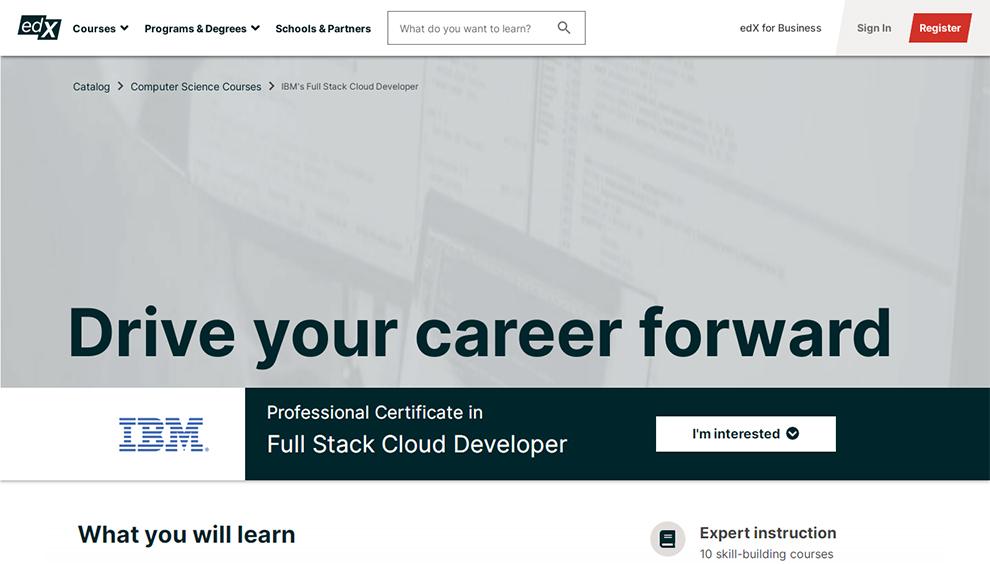 Professional Certificate in Full Stack Cloud Developer