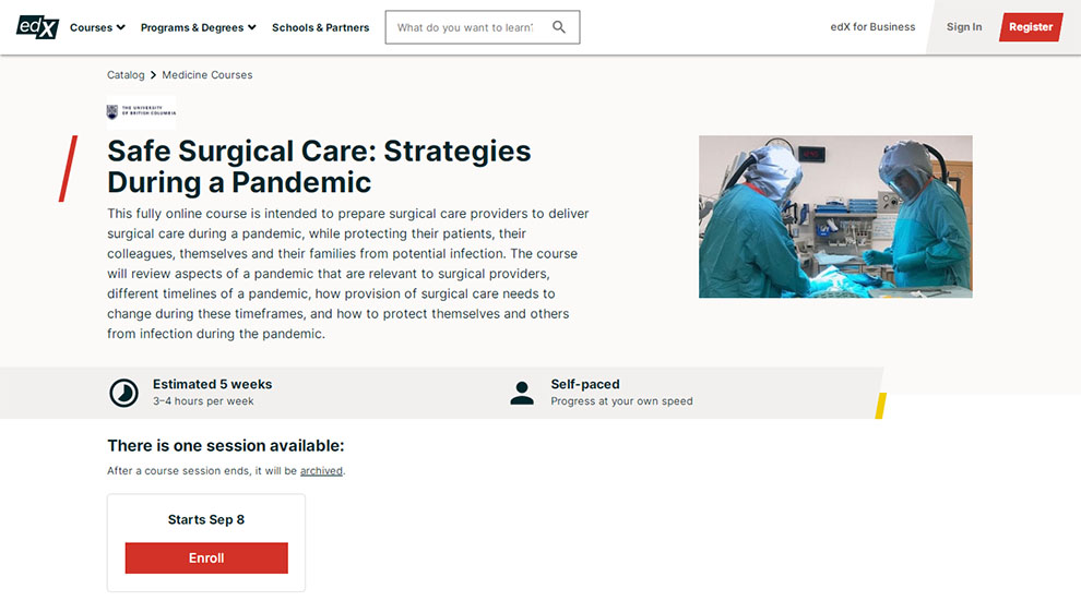 Safe Surgical Care: Strategies During a Pandemic – by The University of British Columbia – [edX]